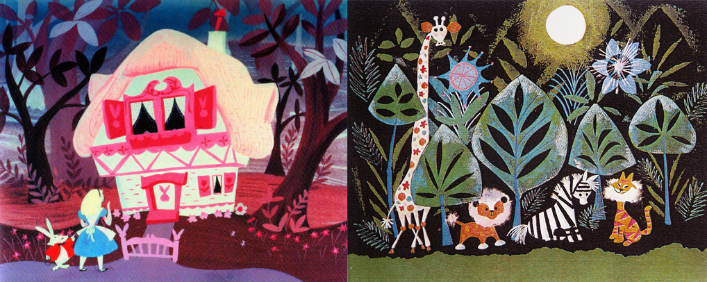 Some of Mary Blair's production artwork for Alice in Wonderland and It's a Small World.